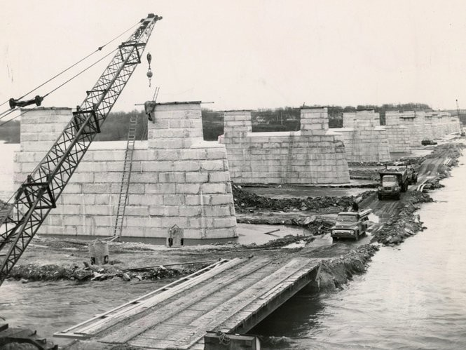 The South Bridge during construction, Dec. 16, 1957. The South Bridge, officially known as the John Harris Memorial Bridge, opened in 1961 and was widened in 1982. It carries Interstate-83 over the Susquehanna River.