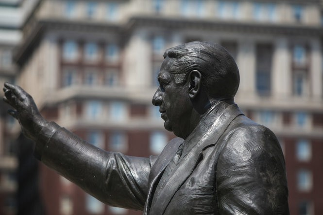 A statue to former Philadelphia mayor and police commissioner Frank Rizzo.
