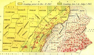 A map showing the work of the Pennsylvania Chestnut Tree Blight Commission, which attempted to stop the spread of the chestnut blight in 1912-1913. Red dots indicate locations where the blight was detected.