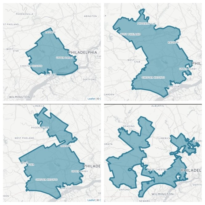 Pennsylvania's 7th Congressional District -- here we see how it has changed over the past four decades -- has been pointed to as a classic case of a district drawn to give one political party an advantage.