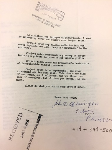 An example of an anti-Ketch letter from the Pennsylvania State Archive collection. Public sentiment against the project was citied by news reports of one of the main reasons it was stopped.
