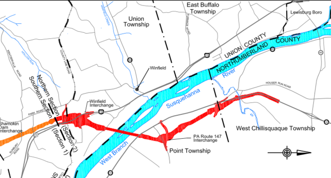 A portion of a PennDOT map shows the path of the the Central Susquehanna Valley Thruway over the West Branch of the Susquehanna River.