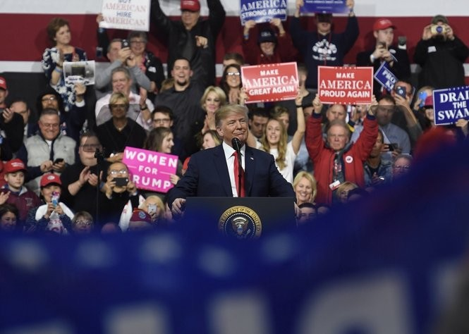 President Donald Trump campaigns for Republican Congressional candidate Rick Saccone at Atlantic Aviation on March 10, 2018, in Moon Township.