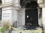 Fire damaged the doors of Lancater City Hall May 23, 2018.