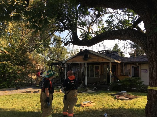 A Summerdale couple's home was destroyed by a fire Thursday afternoon, resulting in their roommate suffering minor injuries.