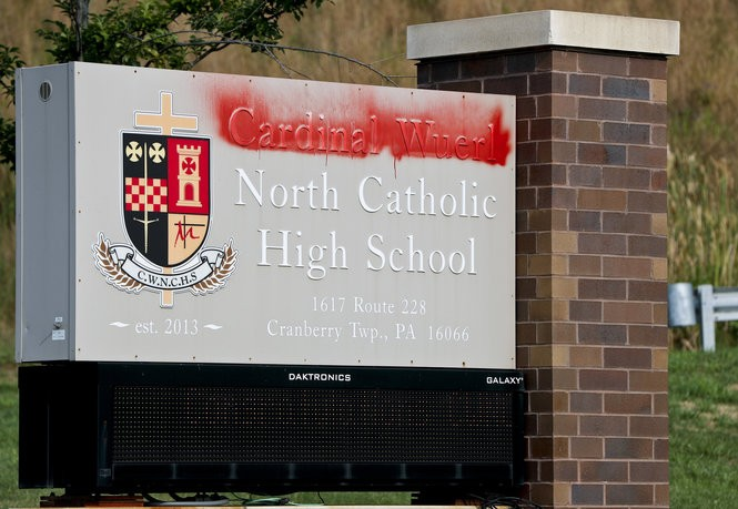 On Monday the name of Cardinal Wuerl at Cardinal Wuerl North Catholic High School was vandalized. The school is located in Cranberry Township. (AP Photo/Keith Srakocic)