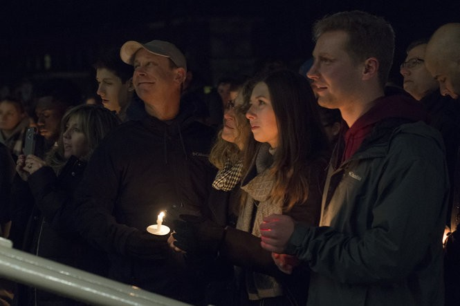 From left to right, Timothy Piazza's father Jim, mother Evelyn, girlfriend Kaitlin Tempalski, and brother Mike honor the life of student Timothy Piazza during a candlelight vigil hosted by the Interfraternity Council on the Old Main patio in State College, Pa. on Sunday, Feb. 12, 2017. Cameron Hart, For PennLive HAR