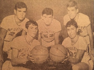 Bishop McDevitt's starting line up for the 1965-66 season. Bottom row: Fred Parise (left) and Tony Kinn. Top row, from left: Lew Billet, Don Polly and John Travers. They played the PCIAA championship game.