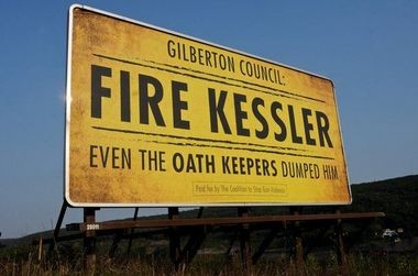 "A ""Fire Kessler"" billboard is located just outside Gilberton."