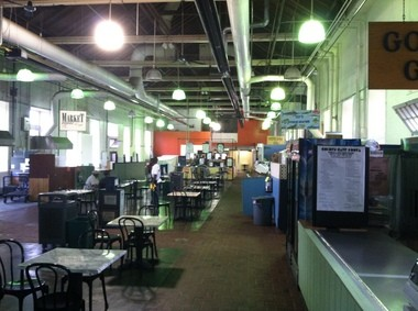 """Inside the """"stone building"""" of Harrisburg's Broad Street Market, early on Friday, Aug. 1, 2014."""