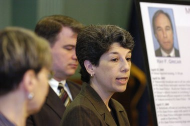 Patty Fornicola, at one of the many press conferences held in Bellefonte in the wake of Ray Gricar's disappearance.