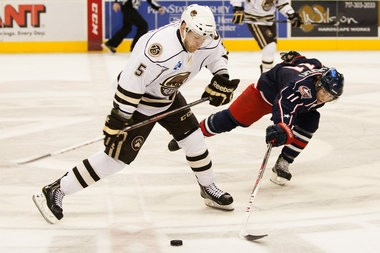 Hershey Bears defenseman Garrett Stafford, left, wast traded to the Edmonton Oilers organization on Tuesday. PAUL CHAPLIN, The Patriot-News (2012)