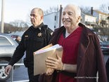 Jerry Sandusky is escorted into Centre County Courthouse for his appeals hearing before Judge John M. Cleland Jr. Sandusky was convicted last June for sexually abusing 10 boys and received a sentence of 30 to 60 years.