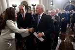 Attorney General-elect Kathleen Kane is greeted by Sen. Bob Casey and Gov. Tom Corbett upon arriving for her swearing-in ceremony last month. Soon Kane will open a review of one of Corbett's biggest cases. Sean Simmers | ssimmers@pennlive.com