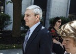 Former Penn State President Graham Spanier walks from Dauphin County courthouse during a break in his July preliminary hearing. 07/29/2013 Dan Gleiter | dgleiter@pennlive.com