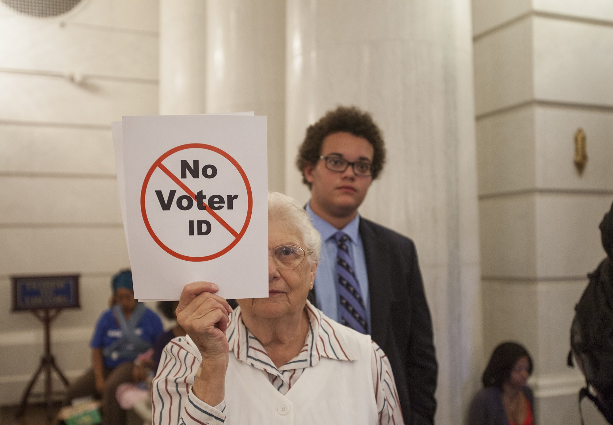 Abigail Newburger of Newburg participated in a rally calling for the repeal of the state's voter ID law at the state Capitol earlier this month.