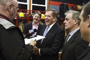 Former governors Tom Ridge and Mark Schweiker (center left and right) talks with the media after endorsing Gov. Tom Corbett's re-election effort Tuesday, Nov. 12, 2013.