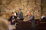 Rep. Bryan Barbin speaks at the Capitol on the last day of the fiscal year Monday in Harrisburg.
