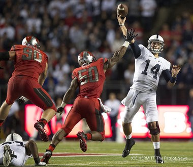 Penn State quarterback Christian Hackenberg leads the Big Ten in passing yards after three games with 1,082.
