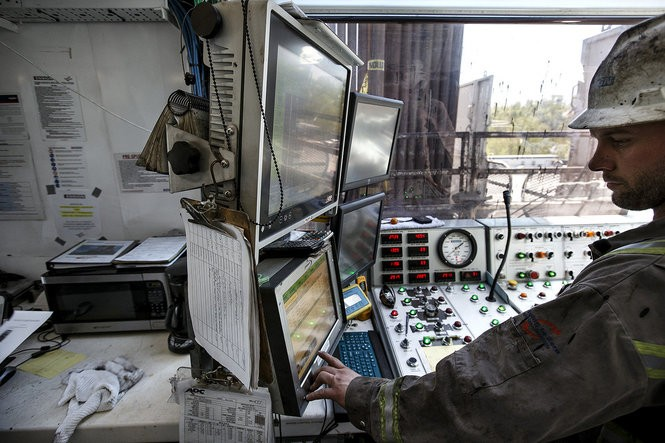 A Seneca Resources drilling rig completes the fourth of six wells at a Marcellus Shale gas well pad in Shippen Township, Cameron County. Driller Dale Lambson works at the control console. Seneca Resources gives a tour of Marcellus Shale gas drilling operations in Elk and Cameron counties in northern Pennsylvania, May 14, 2015. Dan Gleiter, PennLive.com