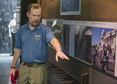 Gordon Felt explains part of an exhibit at the new visitor center at the Flight 93 National Memorial, near Somerset, Pa., which opens tomorrow, Sept. 10, 2015. Felt lost his brother, Ed, on Flight 93. Mark Pynes   mpynes@pennlive.com