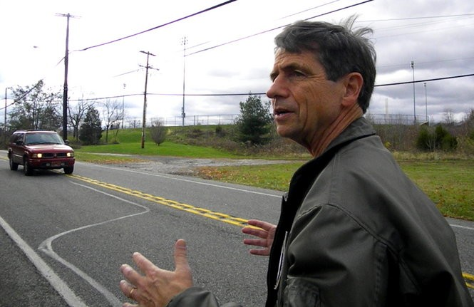 Joe Sestak walking between campaign events in Montgomery County.