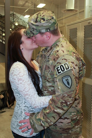 Rob and Megan Easley after their marriage, when Rob trains to return to combat as an explosive ordnance disposal specialist in Afghanistan.