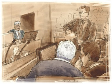 This courtroom illustration depicts former Penn State President Graham Spanier watching ex-university vice president Gary Schultz testify. Illustration by Scott Robbins, PennLive
