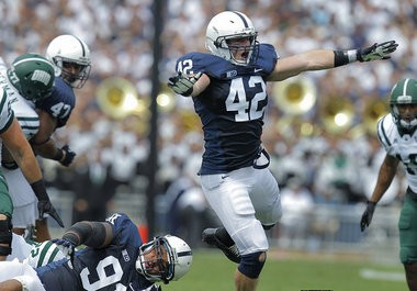Penn State linebacker Michael Mauti celebrates after a tackle during the first quarter against Ohio at Beaver Stadium. JOE HERMITT, The Patriot-News