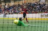Rookie Tyler Witmer, shown scoring one of his two goals in Saturday night's win over Detroit, is one of two rookies leading the PASL's Harrisburg Heat in scoring.