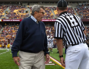 Joe Paterno remained feisty on the Penn State sidelines despite his age.