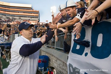 Penn State coach Bill O'Brien celebrates with fans after the Nittany Lions' 24-13 win over Temple at Beaver Stadium. JOE HERMITT, The Patriot-News