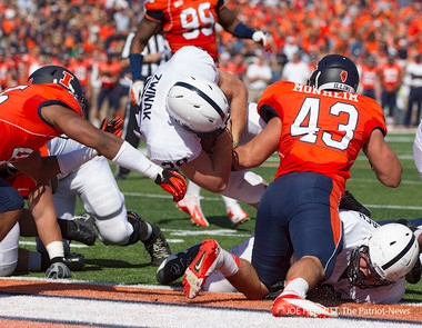 Zach Zwinak barrels through Illinois defenders to score a touchdown in the Lions' 35-7 win in Champaign last fall. Joe Hermitt, PennLive.com