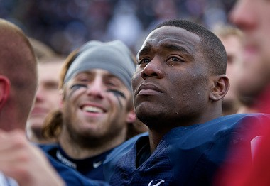 Penn State linebacker Gerald Hodges sheds a tear during Senior Day ceremonies at Beaver Stadium.