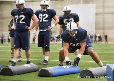 Penn State defensive lineman Austin Johnson runs a drill during spring football practice in Holuba Hall. it was the fifth of 15 spring practices the team will have leading to the annual Blue-White game on April 20. Joe Hermitt, PennLive.com