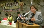 Donna Shalala pictured as U.S. Health and Human Services Secretary on tour in Wisconsin. (AP Photo/Morry Gash)
