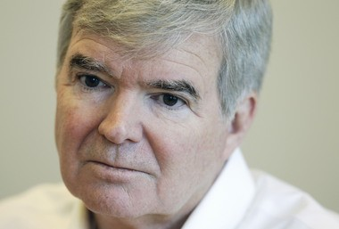NCAA President Mark Emmert listens to a question during an interview Monday, Oct. 27, 2014, in Indianapolis. (AP Photo/Darron Cummings)