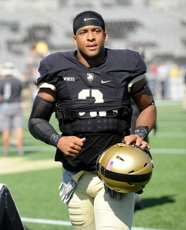 Army tight end Kelvin White warms up before Wake Forest game on Sept. 19 in West Point, N.Y., won by Demon Deacons, 17-14.