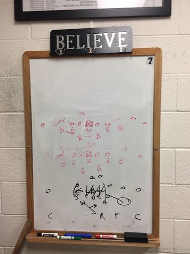 Briar Woods coach Charlie Pierce's whiteboard, featuring Trace McSorley's No. 7 in the upper right corner.