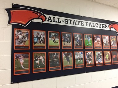 Briar Woods' wall of all-state athletes.