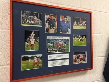Framed clippings commemorating Trace McSorley's first start at Briar Woods.