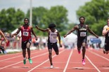 Imhotep's Kristian Marche, left, competes in the 100 meters at the PIAA track and field state championships in May. Marche was slated to run at Penn State, but police say he was shot to death in Philadelphia Monday night.