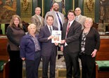 """STUDENT ACHIEVEMENT -- Thomas Fisher (front row, second from right), a senior at Susquenita High School, was the winner of Sen. Rob Teplitz's 2015 """"There Oughta Be a Law!"""" essay contest. Teplitz presented him with a certificate during a March 16 visit to the Capitol. Also pictured are (front row, from left) Fisher's mother Wendy Fisher, grandmothers Pam Fisher and Debbie Dressle; (back row, from left) Fisher's internship mentor Nick Matash of Mid Penn Legal Services, Susquenita teacher Terrance Shepler and principal Craig Funk."""