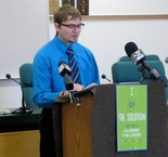 """SOLUTIONS -- Adam Oldham, an East Pennsboro School District counselor, speaks at the announcement of a new drug abuse prevention campaign called """"I Am the Solution"""" on Jan. 24. The effort is meant to increase positive interactions between young people and adults in their community."""