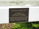 REMEMBERANCE -- A closeup of the plaque placed on the West Perry sign in memory of its creator.