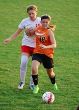 NOTHING BUT NET -- Zia Gochenaur (19) scored her second goal of the season in Susquenita's 2-1 win over Millersburg.
