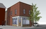 This is a conceptual drawing by architect Reed Hoffman of what his daughter's new coffee shop will look like from the front.