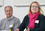 HISTORY LESSON -- Bryan Van Sweden and Andrea MacDonald of the Pennsylvania Historical & Museum Commission discuss grants and preservation priorities at the Dec. 13 meeting about restoring the Clarks Ferry Tavern.
