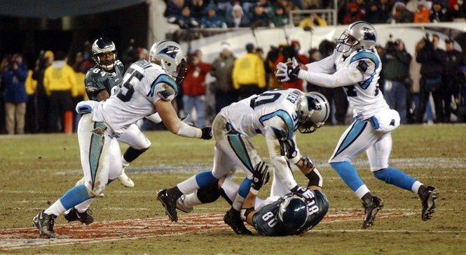 638738c420b Carolina Panthers cornerback Ricky Manning, right, intercepts a pass  intended for Philadelphia Eagles wide recieverJames Thrash (80) during the  third ...