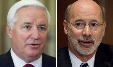 Pundits say it's risky but Democratic candidate Tom Wolf (left) could use the racy email scandal against Gov. Tom Corbett (at left) as the two enter the final six weeks of the 2014 gubernatorial campaign.